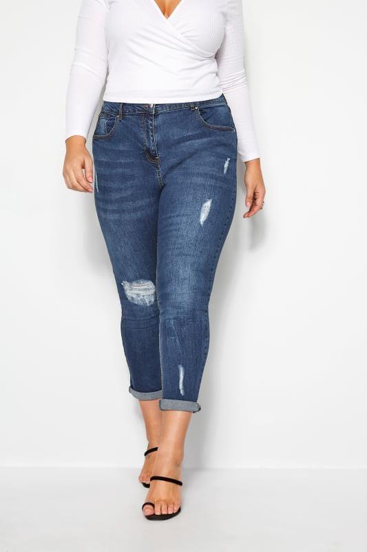 Plus Size Boyfriend Jeans Mid Blue Distressed Mom Jeans