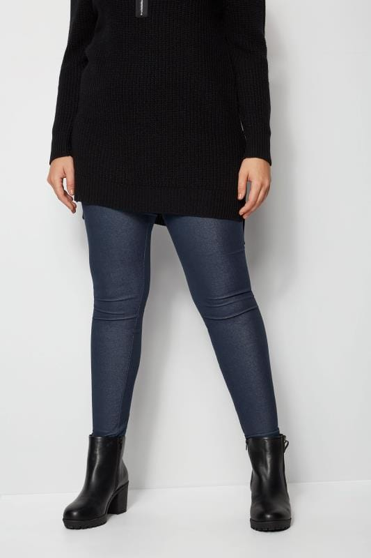 Plus Size Basic Leggings Mid Blue Jersey Jeggings