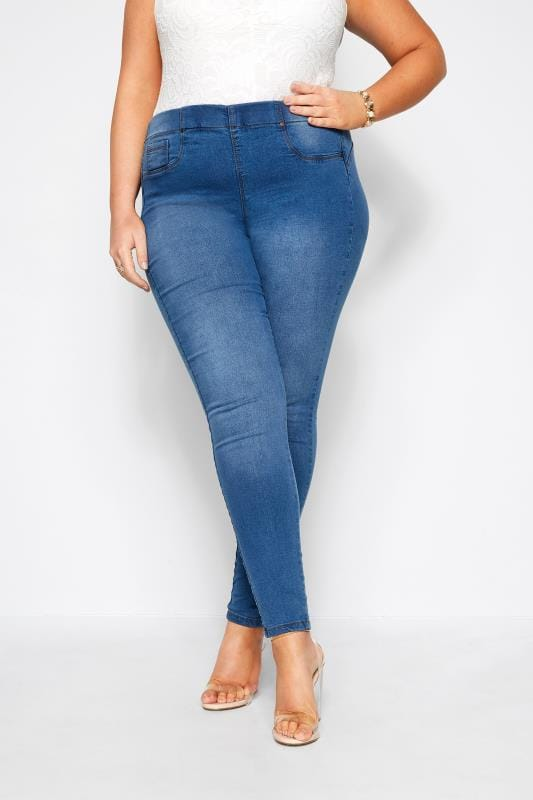 Plus Size Jeggings Mid Blue Pull On Bum Shaper LOLA Jeggings