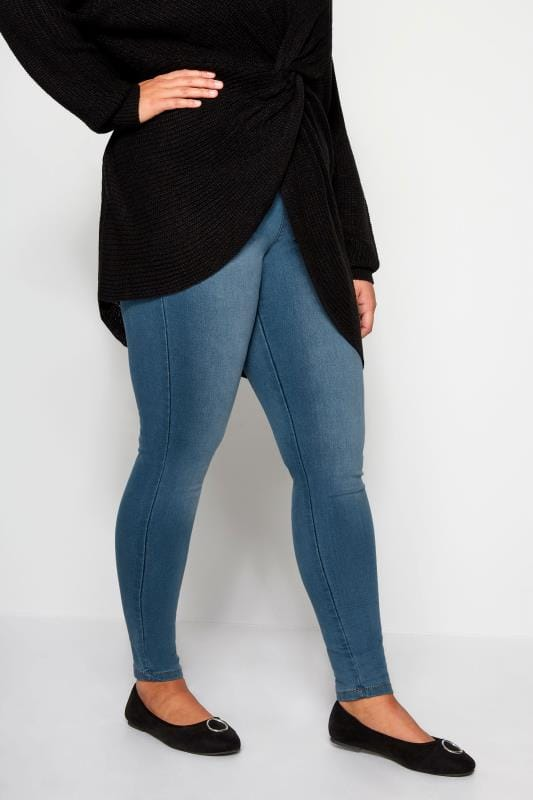 Jeggings dla puszystych Mid Blue Pull On LOLA Jeggings