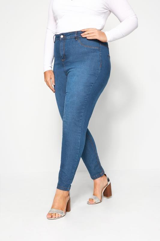 Plus-Größen Skinny Jeans Mid Blue Super High Rise KIM Skinny Jeans