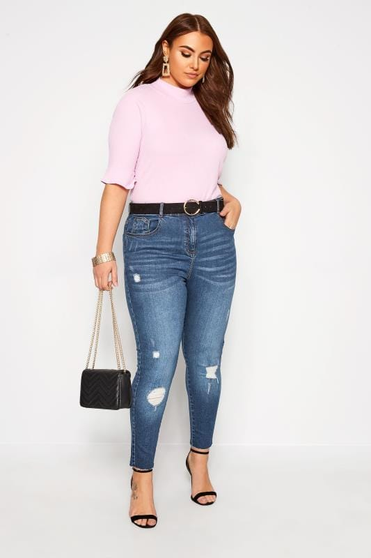 Skinny Jeans Grande Taille Mid Blue Washed Skinny Stretch Ripped AVA Jeans
