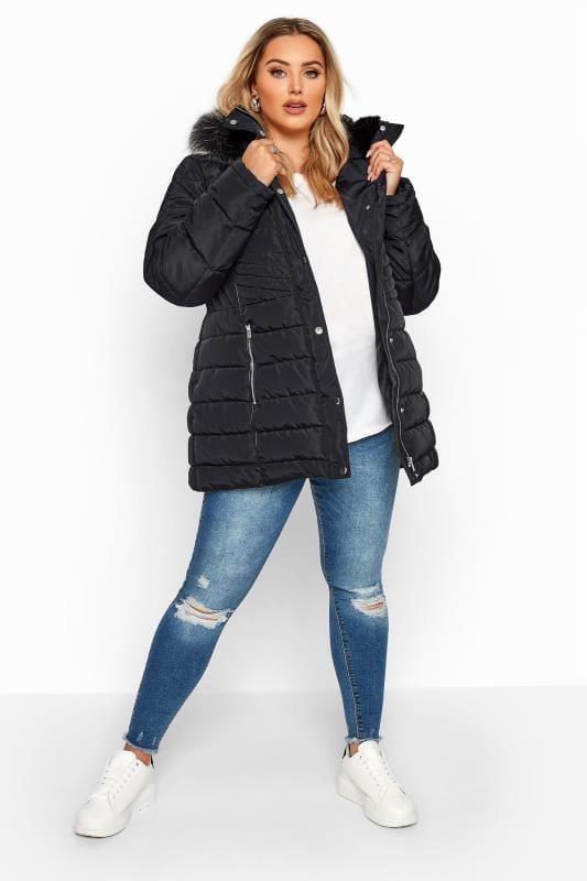 Black Panelled Puffer Coat