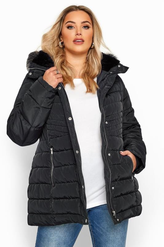 Plus Size Puffer & Quilted Jackets Black Panelled Puffer Coat
