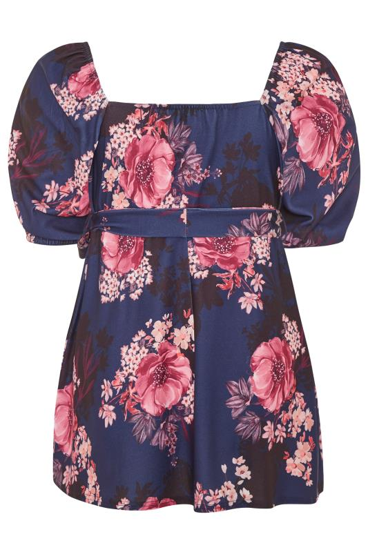 YOURS LONDON Navy Floral Square Neck Peplum Top