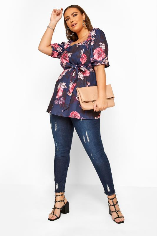 YOURS LONDON Navy Floral Milkmaid Peplum Top