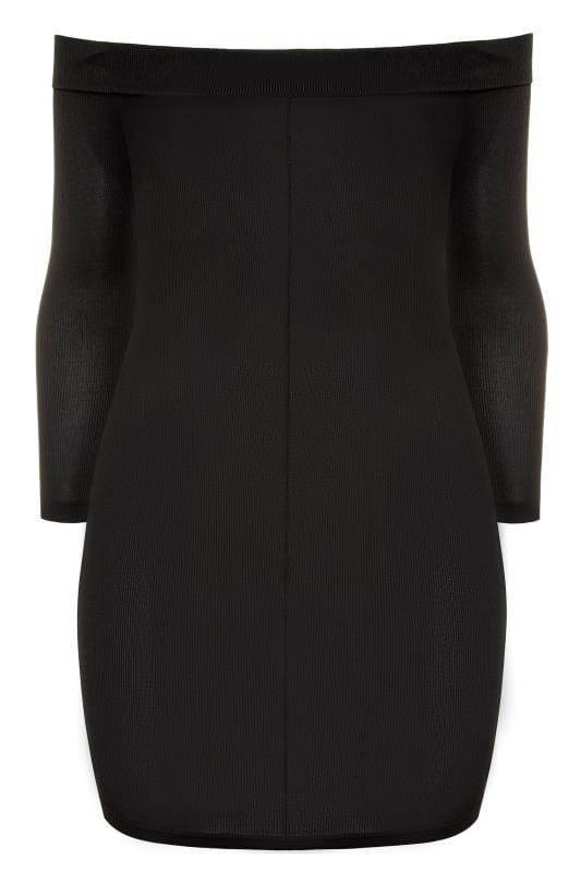 LIMITED COLLECTION Black Ribbed Bardot Bodycon Dress