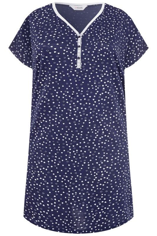 Nachthemd im Herz-Muster - Navy