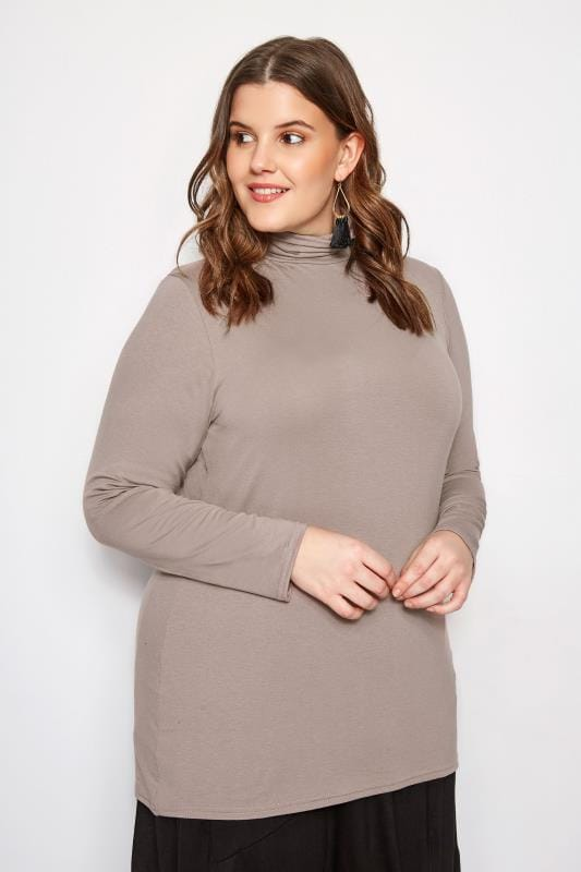 Plus Size Basic T-Shirts & Vests Mink Turtleneck Top
