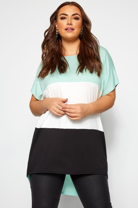 Plus Size Jersey Tops Mint Green Colour Block Extreme Dipped Hem Top