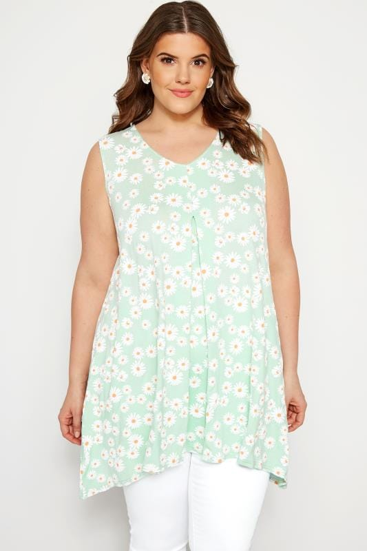 Plus Size Day Tops Mint Green Daisy Swing Vest Top
