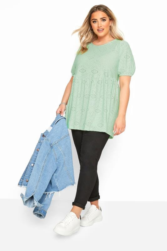 Mint Green Embroidered Puff Sleeve Smock Top