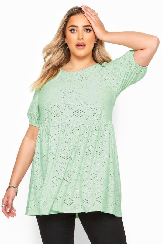 Plus Size Day Tops Mint Green Embroidered Puff Sleeve Smock Top