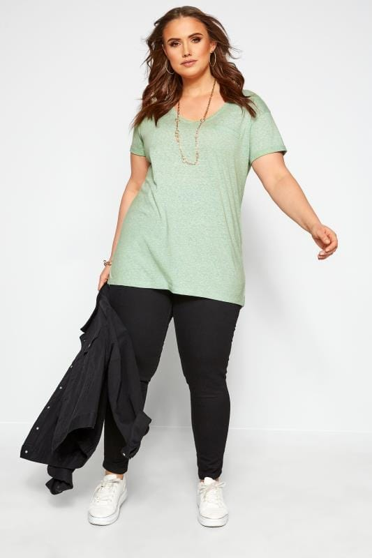 Mint Green Marl Pocket T-Shirt