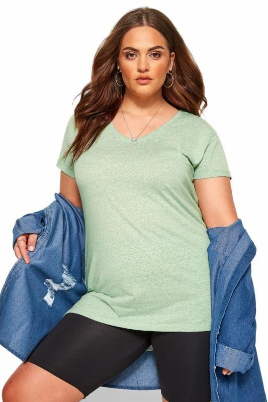 Plus Size T-Shirts Mint Green Marl Pocket T-Shirt