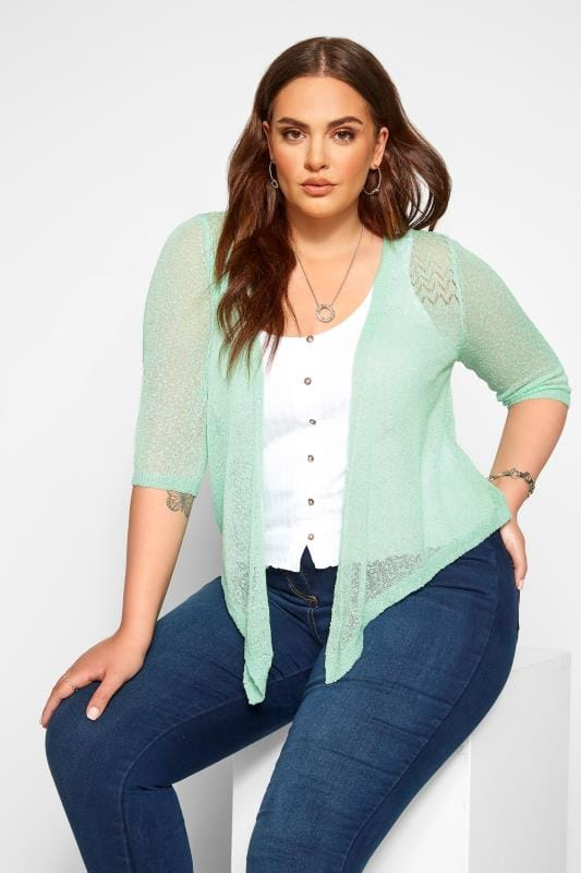 Plus Size Beauty Mint Green Waterfall Fine Knit Shrug