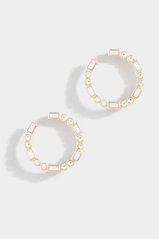 Gold Mixed Diamante Hoop Earrings