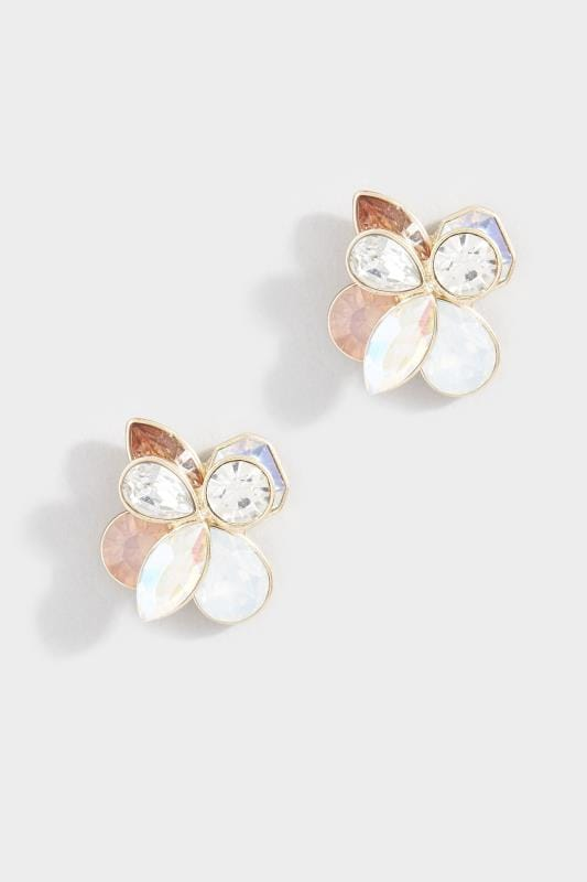 Gold Mixed Stone Floral Stud Earrings