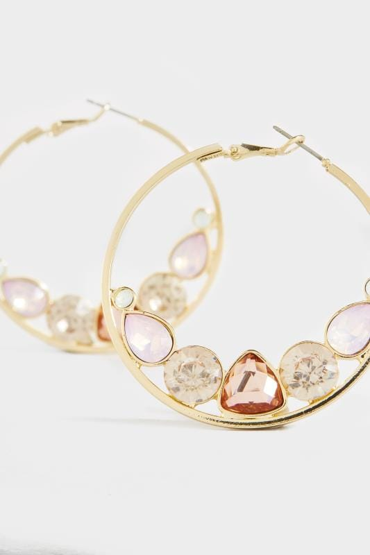 Gold Mixed Stone Large Hoop Earrings