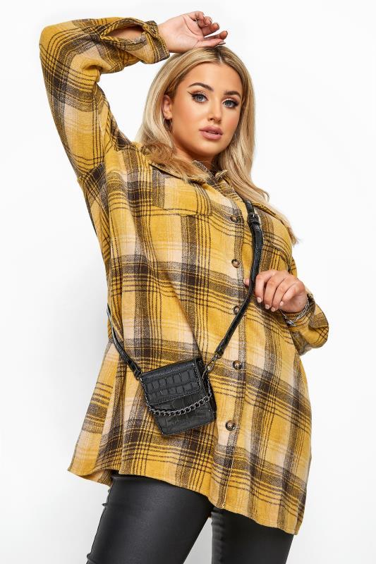 Beauty Grande Taille Black Croc Chain Mini Cross Body Bag