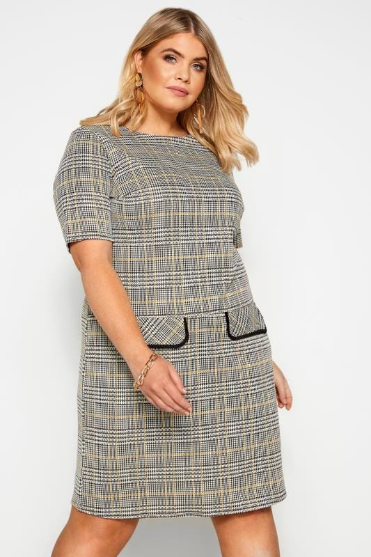 Plus Size Casual Dresses Monochrome and Mustard Check Print Tunic