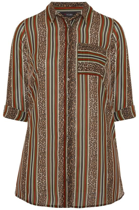 Multi Animal Print Striped Oversized Boyfriend Shirt