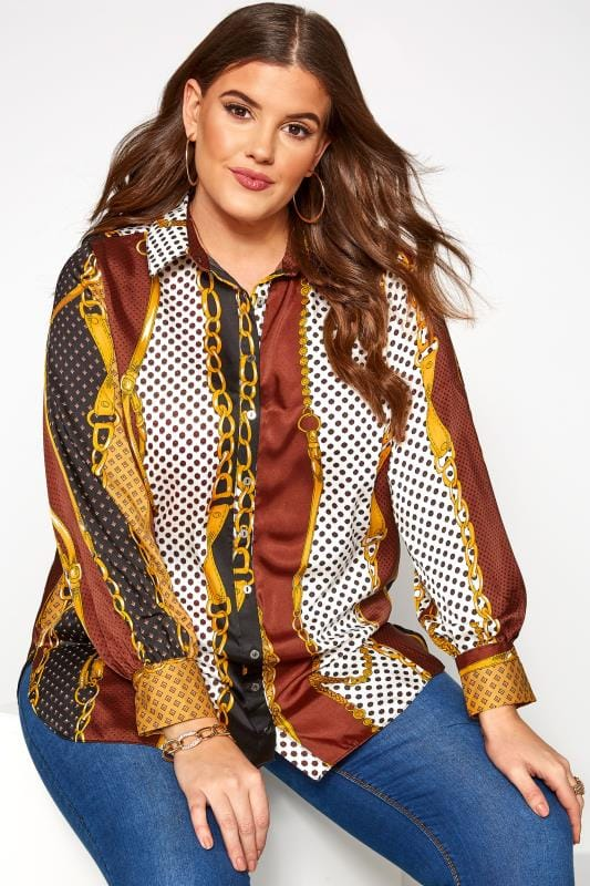 Plus Size Blouses & Shirts Multi Chain Print Shirt