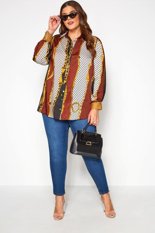 Plus Size Blouses & Shirts Multi Chain Print Satin Shirt