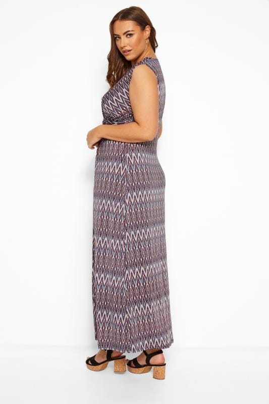 Multi Geometric Knot Front Maxi Dress