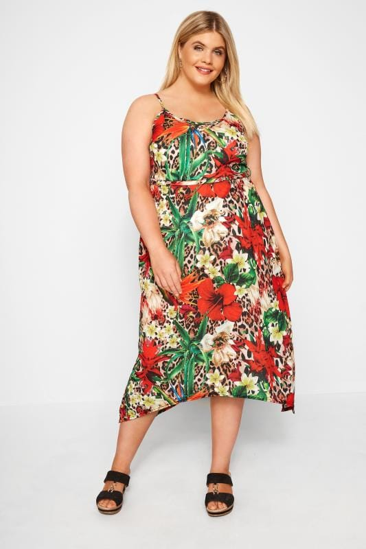 Plus Size Jersey Dresses Multi Mixed Print Hanky Hem Jersey Dress