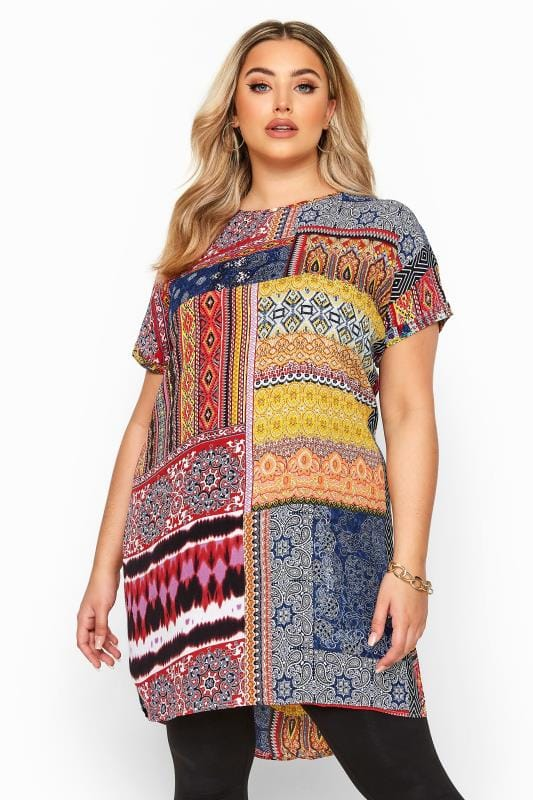 Plus Size Gifts Multi Patchwork Print Dipped Hem Tunic