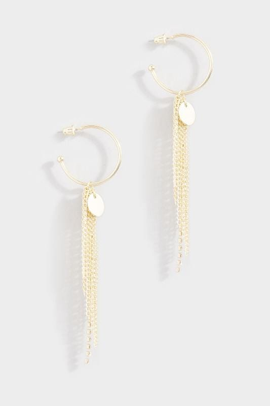 Gold Multi Tassel Drop Hoop Earrings