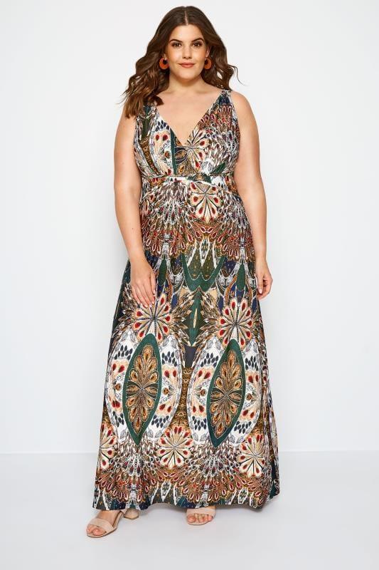 Plus Size Maxi Dresses Multi Tropical Print Maxi Dress