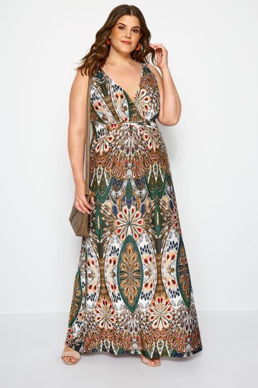 Maxi-Kleid mit tropischen Blumen - Bunt