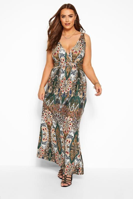 Multi Tropical Print Maxi Dress