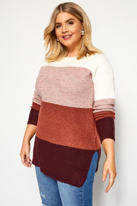 Plus Size Jumpers Multicoloured Block Stripe Knitted Jumper