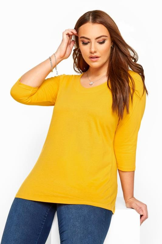 Plus Size Jersey Tops Mustard 3/4 Length Sleeve Jersey Top