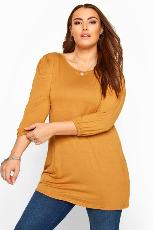 Plus Size Jersey Tops Mustard Balloon Sleeved Top