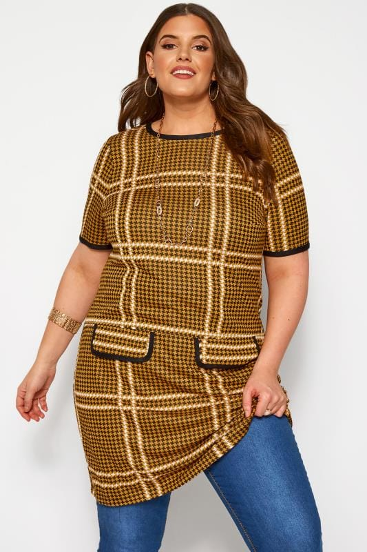 Plus Size Casual Dresses Mustard Dogtooth Tunic
