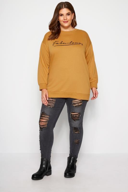 Sweatshirt mit Schriftzug - Senf