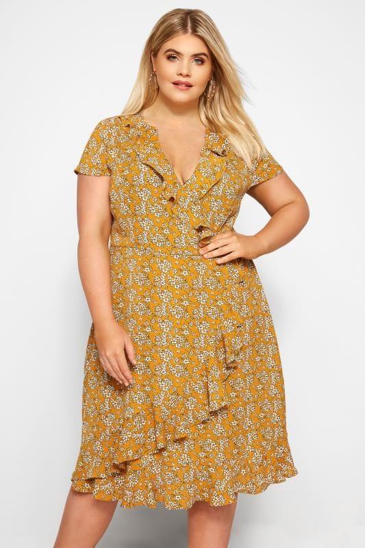 Mustard Floral Frill Wrap Dress