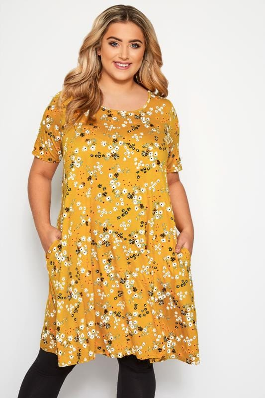 Plus Size Swing Dresses Mustard Floral Pocket Swing Dress