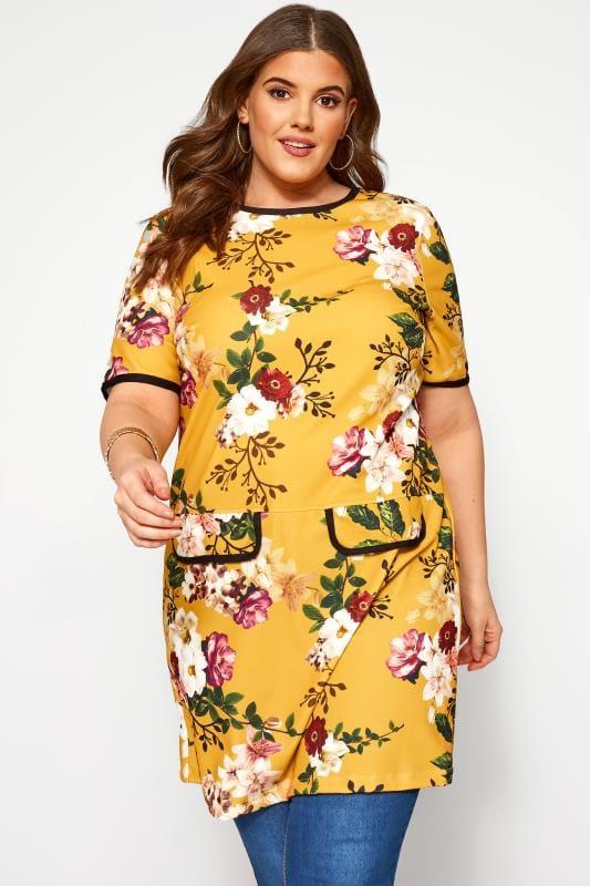 Plus Size Tunics Mustard Floral Print Mock Pocket Tunic