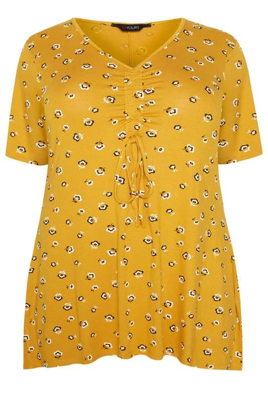 Mustard Floral Ruched Front Top