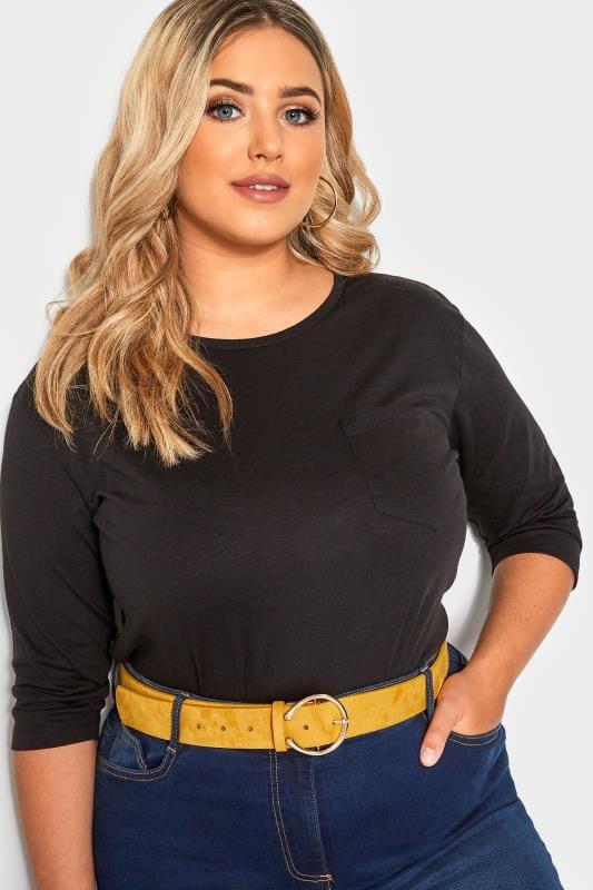 Plus-Größen Plus Size Belts Mustard Horseshoe Faux Suede Belt