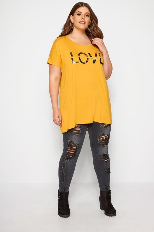 Mustard 'Love' Slogan T-Shirt
