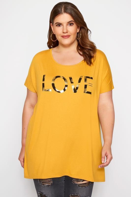 Plus Size T-Shirts Mustard 'Love' Slogan T-Shirt