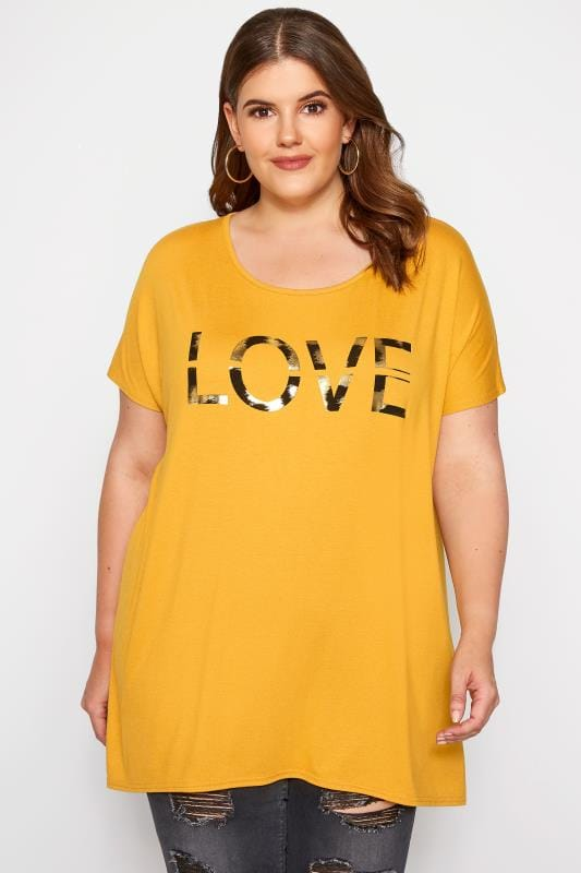 Plus Size T-Shirts Mustard 'Love' Slogan T-Shirt