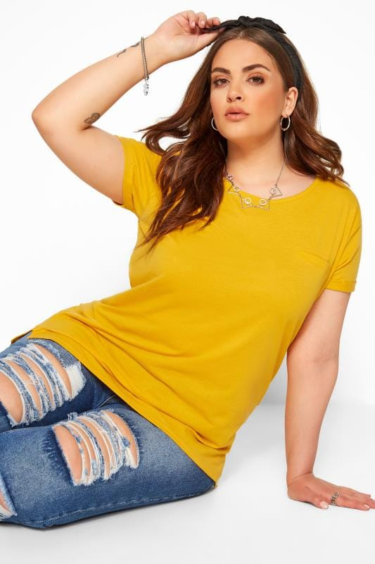 Plus Size Basic T-Shirts & Vests Mustard Mock Pocket T-Shirt