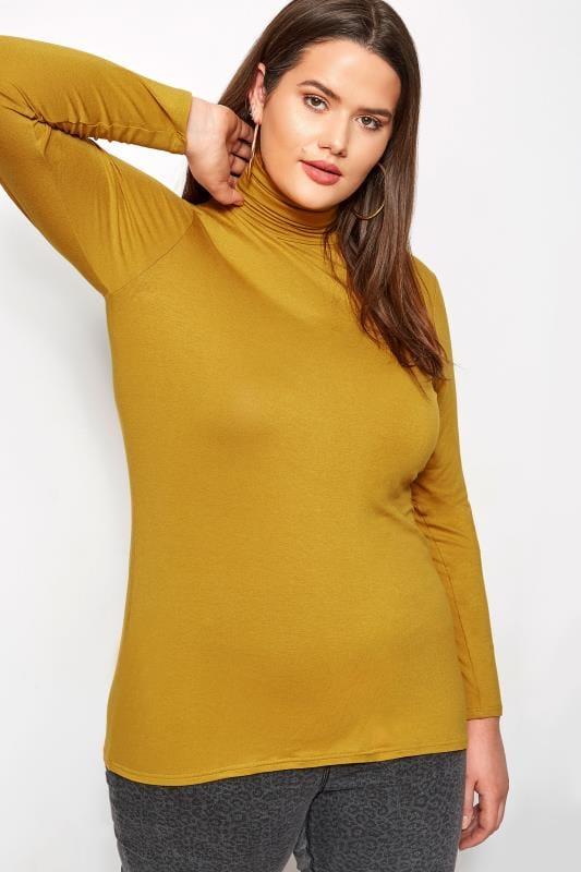 Plus Size Jersey Tops Mustard Turtleneck Top